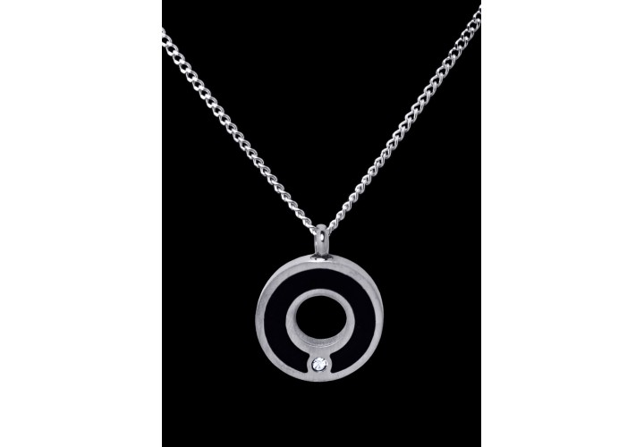 Stainless Steel Silver-Black Circle Cremation Pendant #36-615